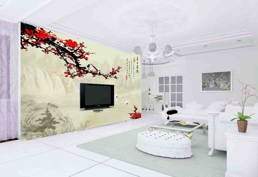 背景墙|装饰画 电视背景墙 中式电视背景墙 > 中国风喜上眉梢酒店大堂图片