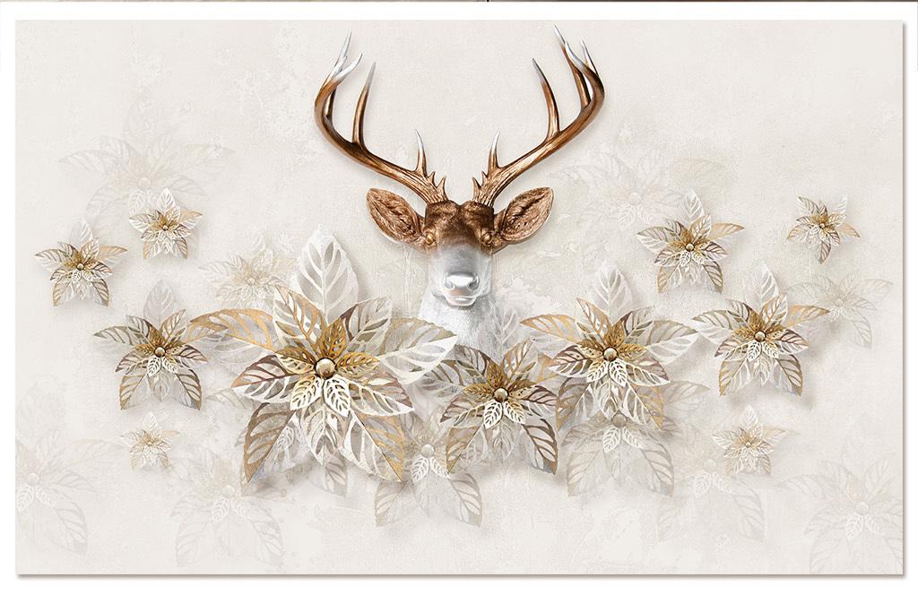 鹿头三维立体手绘