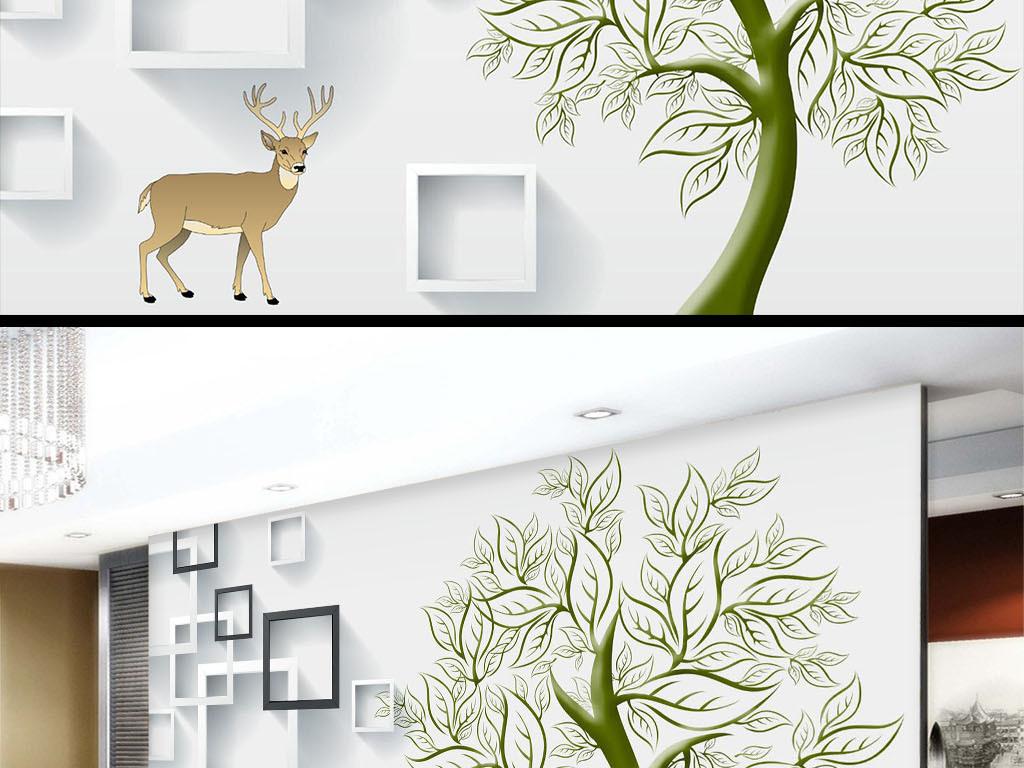 鹿立体背景墙手绘树客厅客厅背景现代客厅客厅电视电视背景墙图片玻璃
