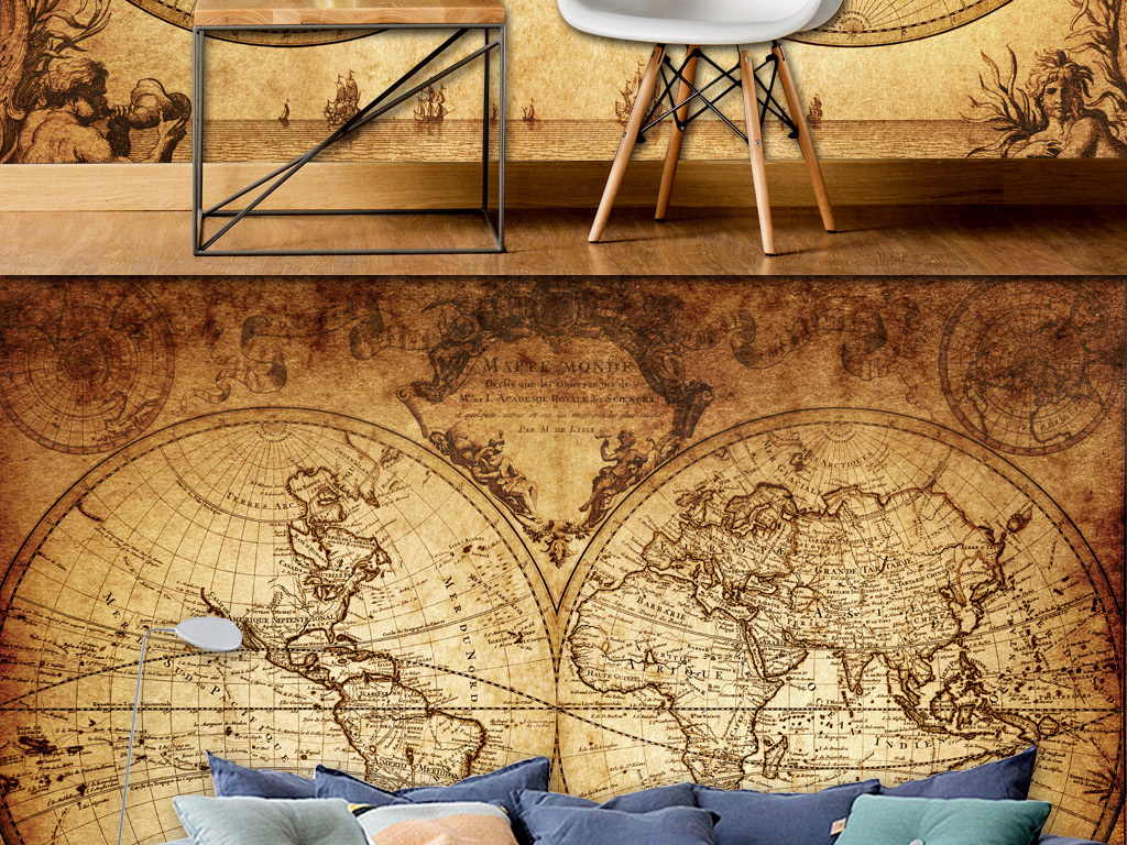 欧式复古手绘地图背景墙