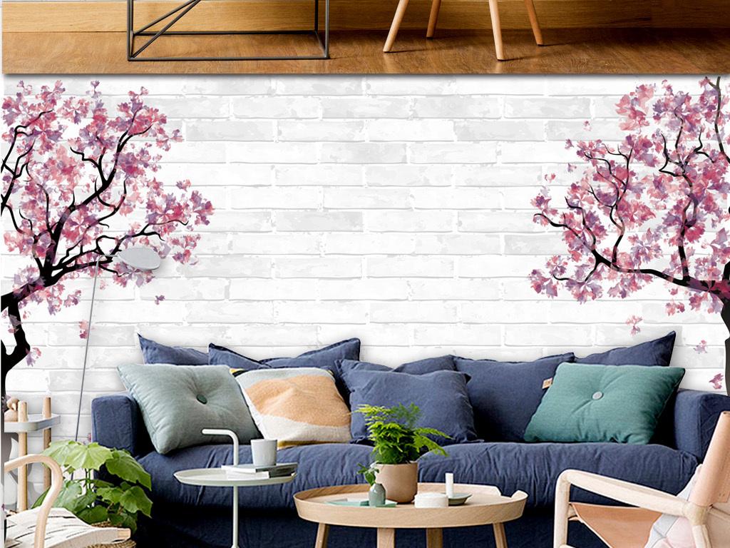 现代简约手绘樱花树背景墙(图片编号:16050086)