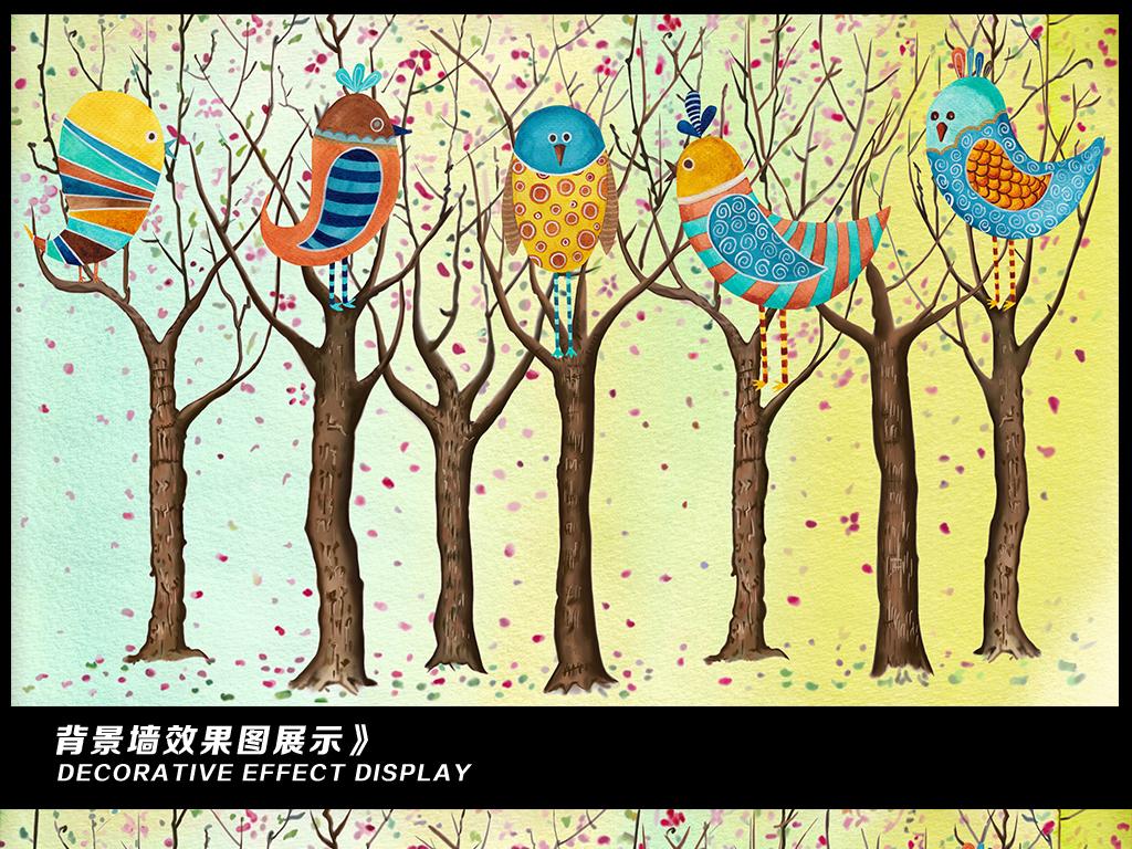 唯美高清手绘水彩树林小鸟电视背景墙装饰画