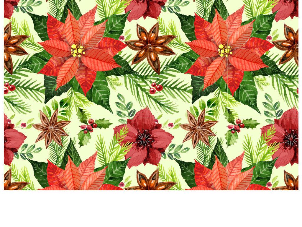 卡通红色鲜花树叶花朵背景图