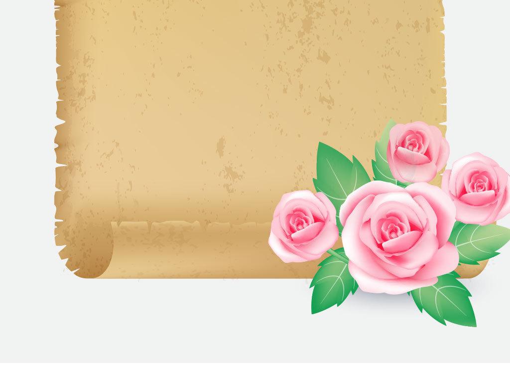 卡通牛皮纸花纹花朵背景图