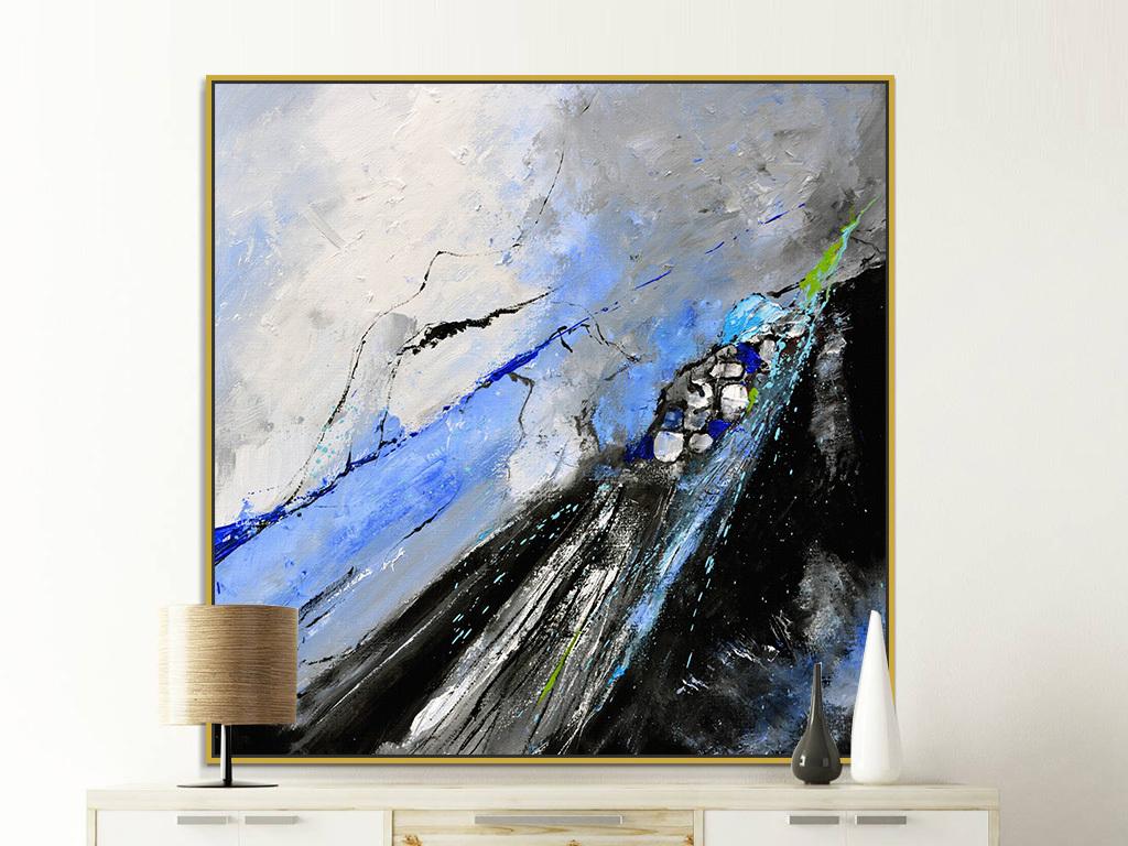 北欧现代动感蓝色黑色色斑抽象油画装饰画