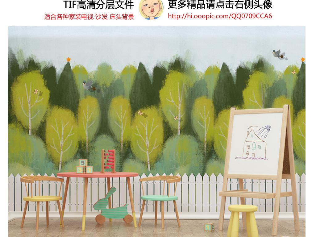 手绘卡通绿色森林白色栅栏小鸟儿童房背景墙