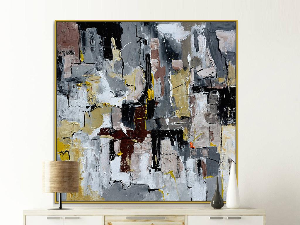 背景墙 装饰画 油画 抽象油画  > 美式复古灰色黑色色斑抽象装饰画