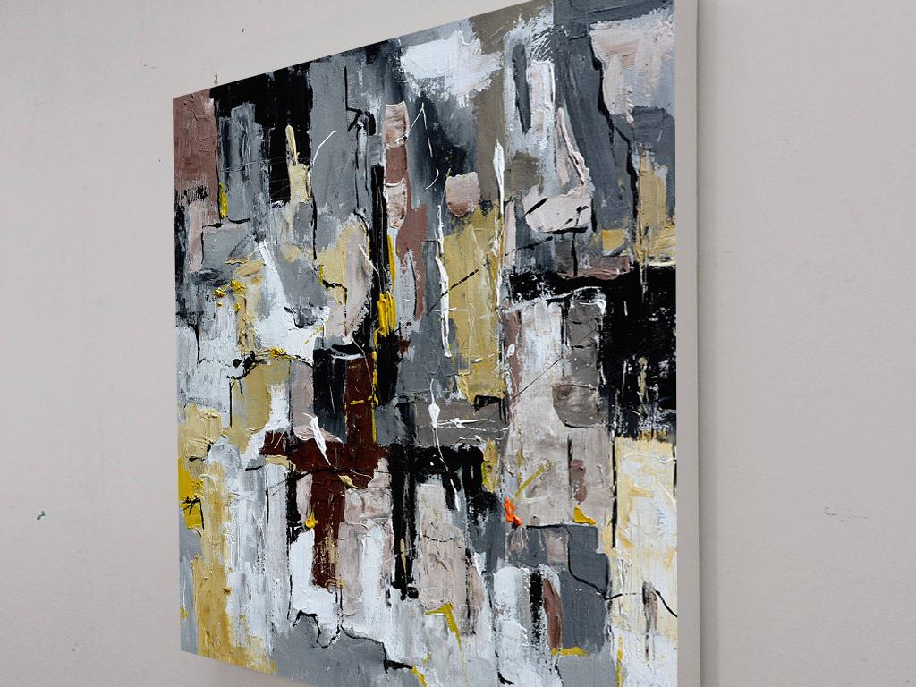 背景墙|装饰画 油画 抽象油画  > 美式复古灰色黑色色斑抽象装饰画