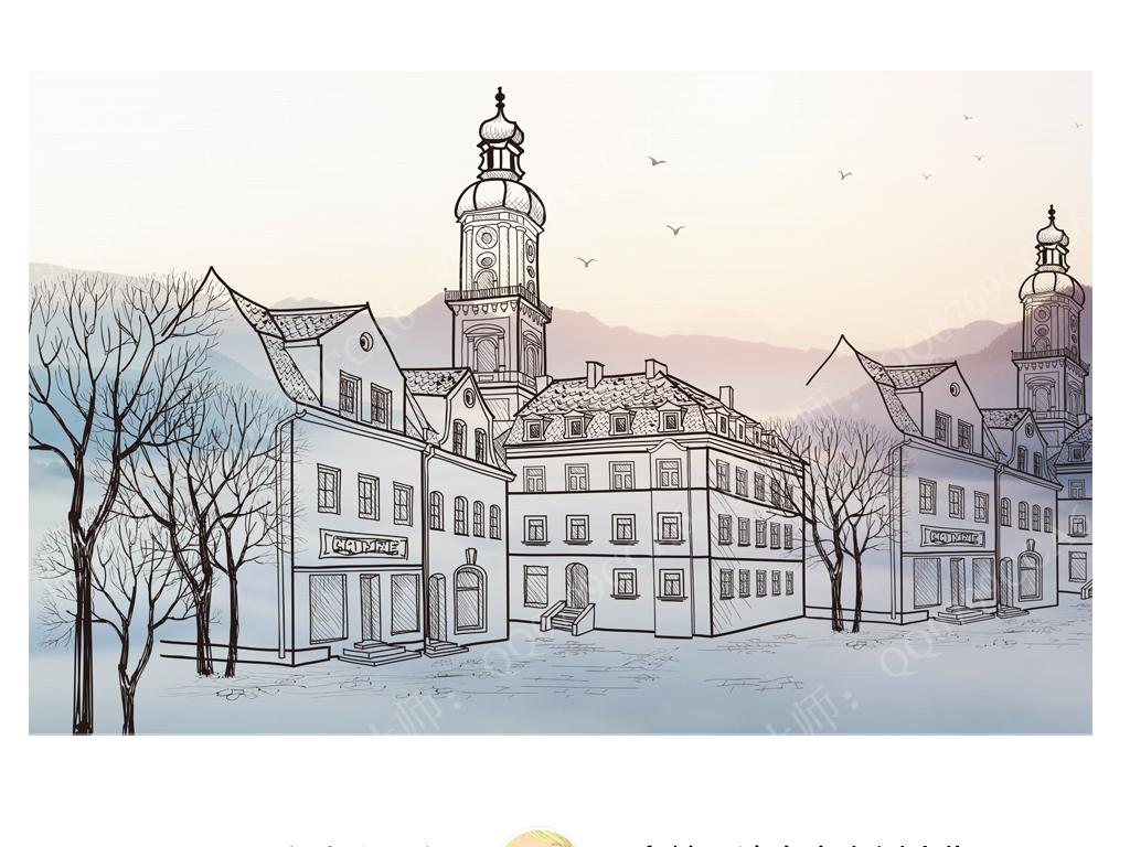 手绘抽象线稿城市朝霞背景简约宜家风格背景墙