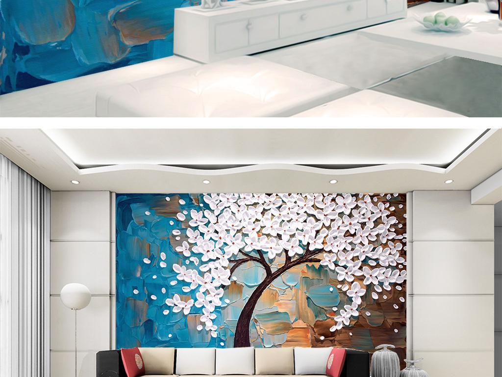 手绘油画白色花朵立体刀画发财树背景墙