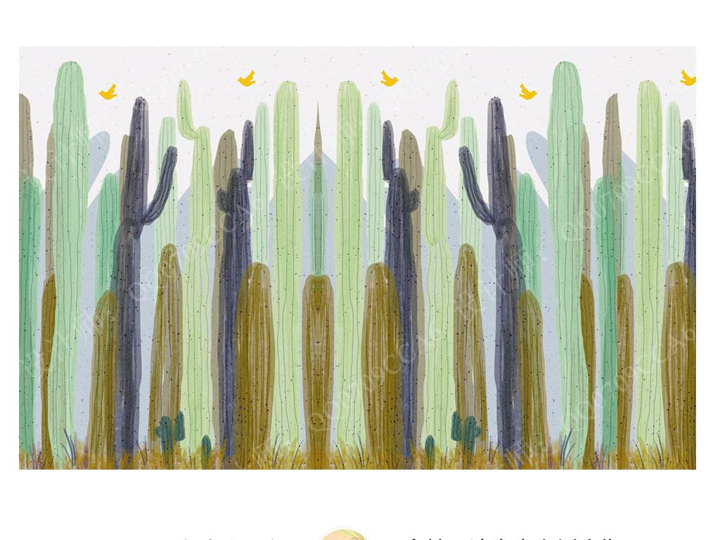 手绘宜家风格小清新热带雨林仙人掌飞鸟沙发床头儿童房背景墙