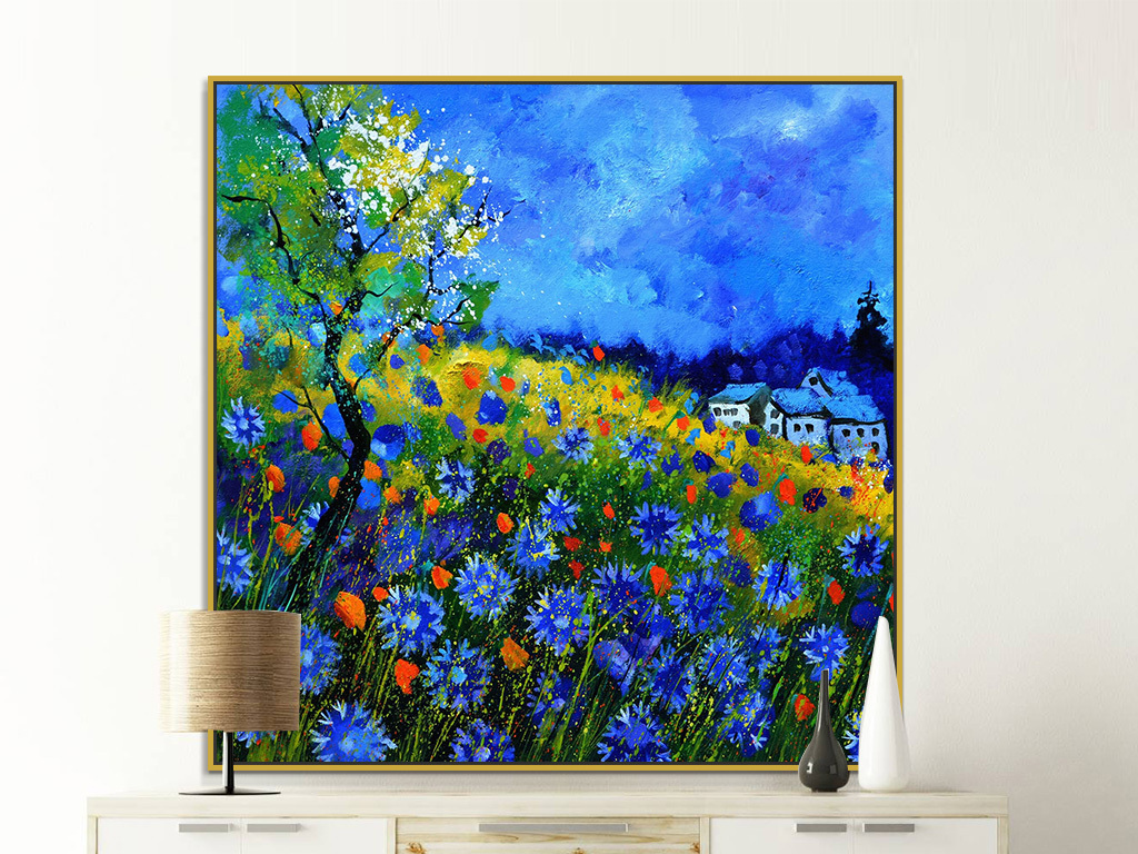 油画 风景油画 > 美式乡村蓝色天空山野花朵风景油画装饰画  版权图片图片