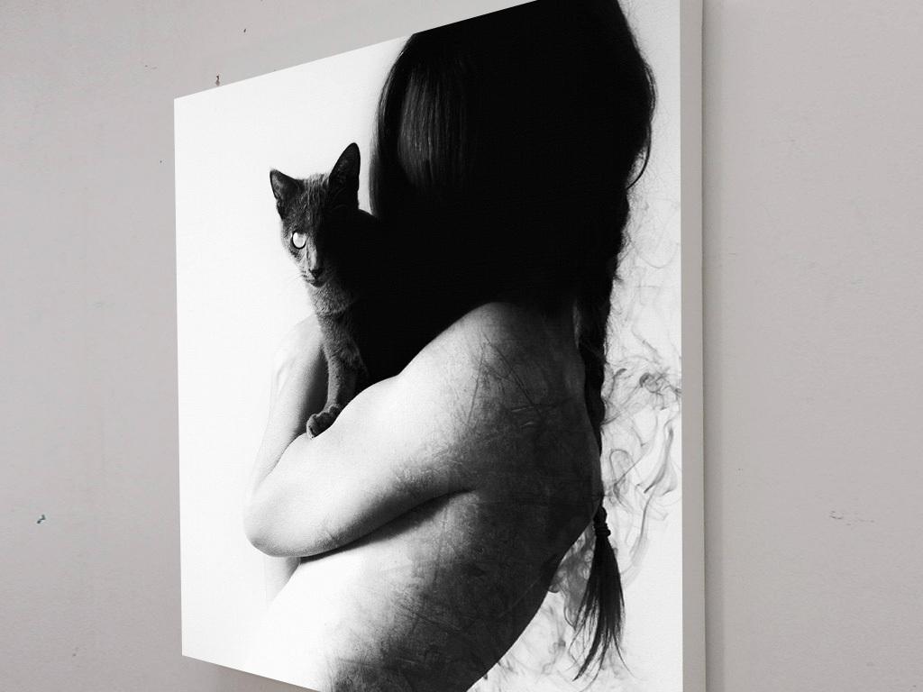创意幻想艺术黑白美女头发猫咪无框画装饰画