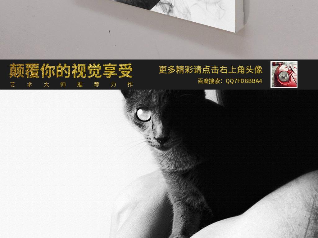 创意幻想艺术黑白美女头发猫咪无框画装饰画图片