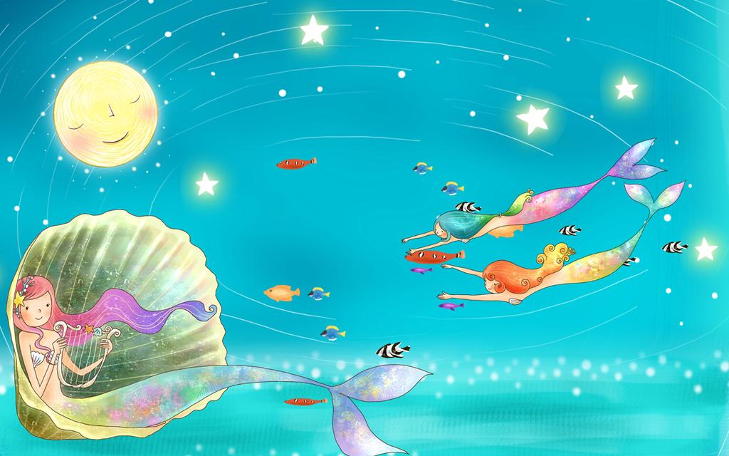 蓝色大海蓝色海洋清新手绘
