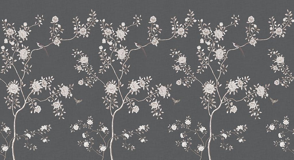 手绘中式现代简约美式工笔花鸟背景墙壁画图片