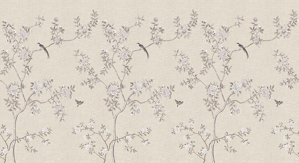手绘中式现代简约美式工笔花鸟背景墙壁画 位图, rgb格式高清大图图片