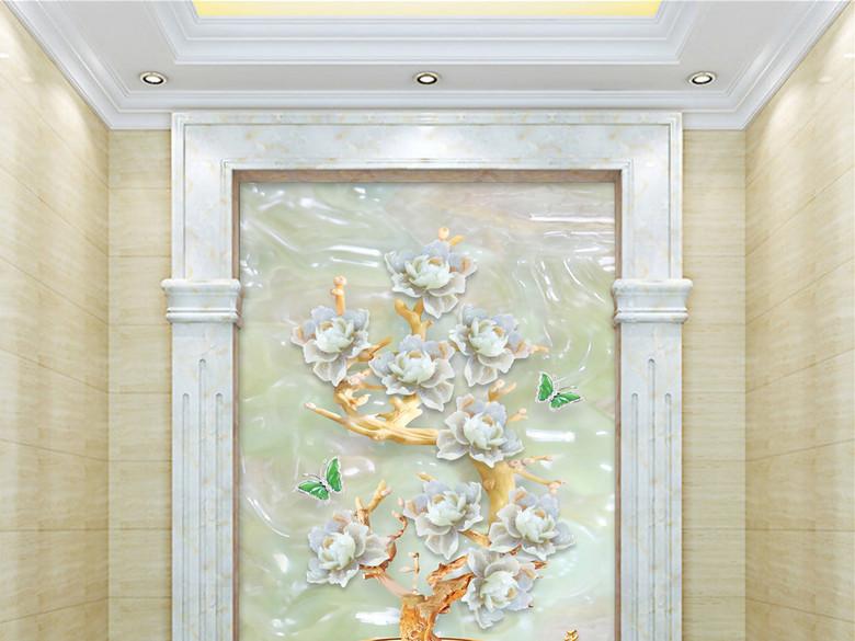 平安富贵玉雕花瓶牡丹花3D玉雕玄关背景墙