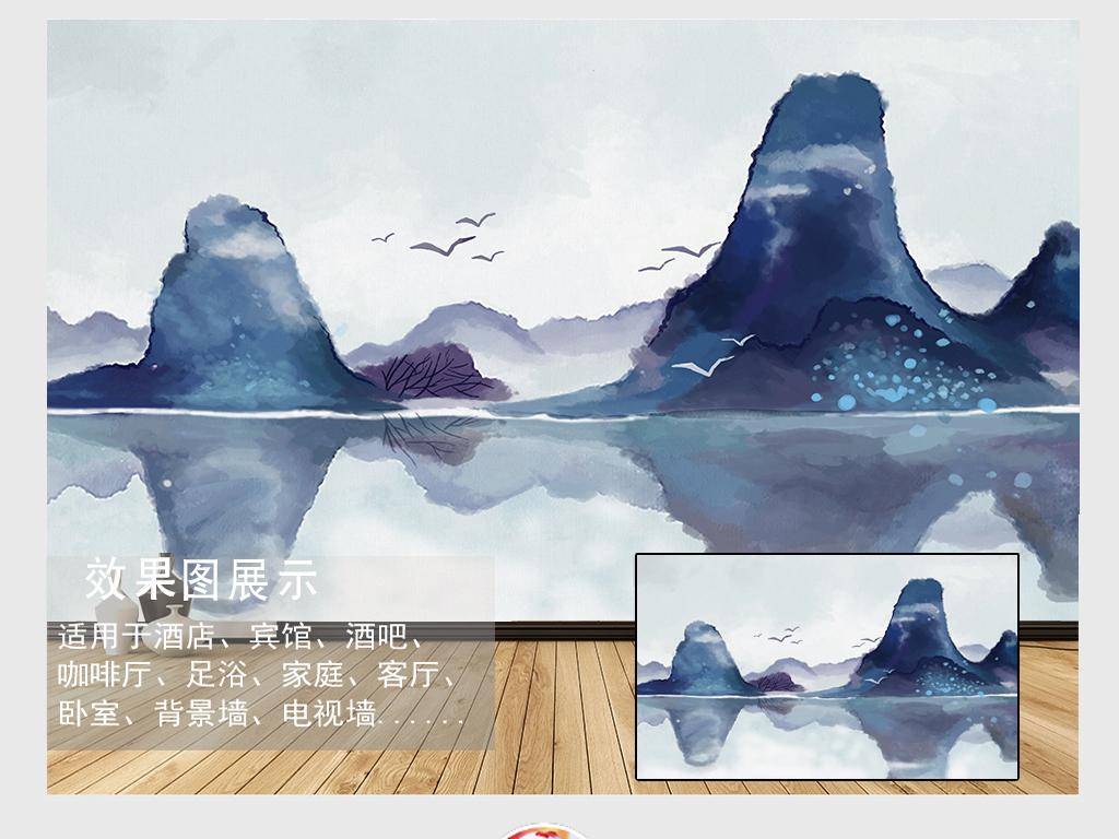 手绘新中式水彩墨山水电视背景墙