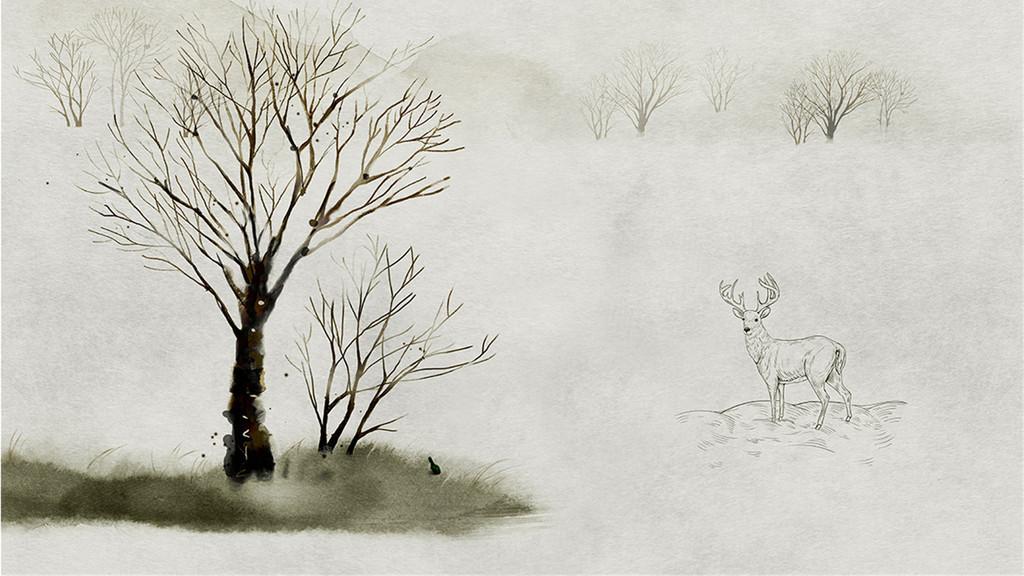 北欧花纹森林小鹿抽象树背景墙