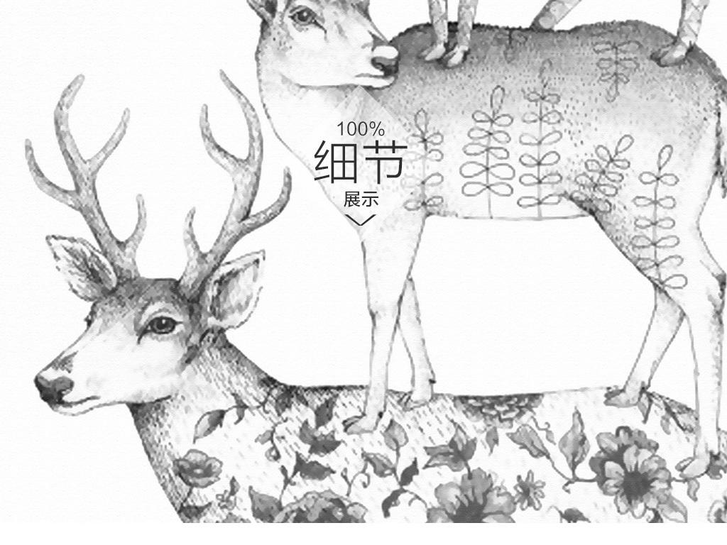 复古麋鹿麋鹿森林手绘背景复古手绘麋鹿