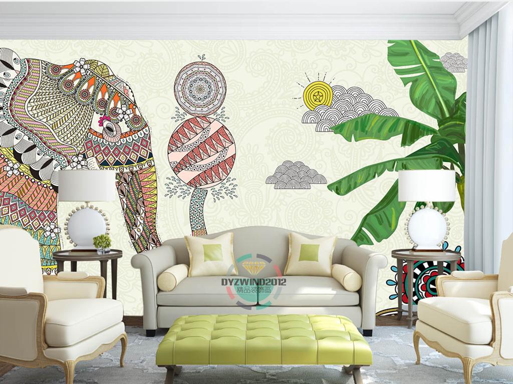 手绘泰国大象酒吧餐厅背景墙