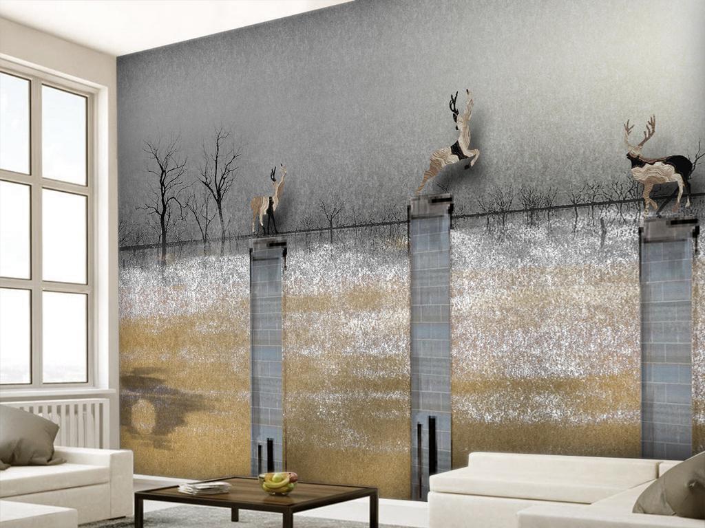 手绘背景田园欧式复古树林背景龙柱子柱子广告欧式