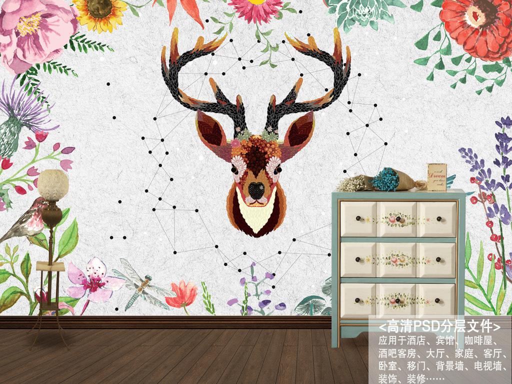 北欧素雅抽象手绘驯鹿花卉背景墙装饰画