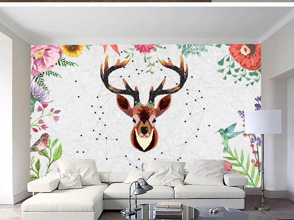 画墙纸树叶鹿角木板水彩植物花朵玫瑰藤蔓热带蕨类蝴蝶叶子枝叶绿叶