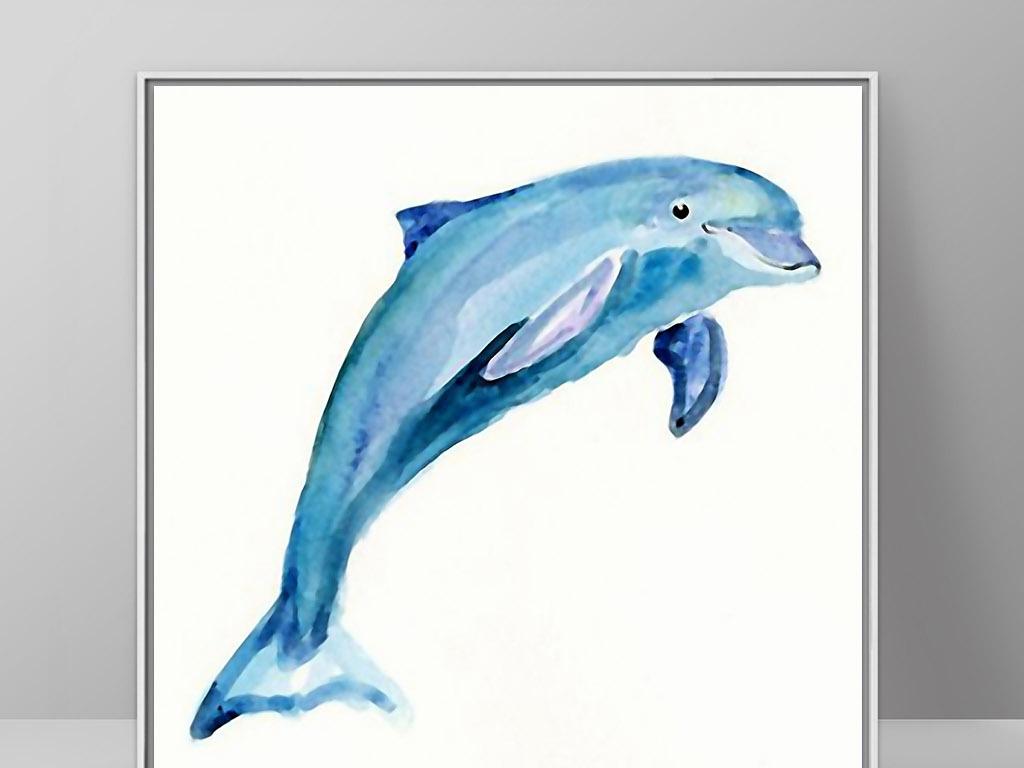 可爱海豚海洋动物欧式手绘小清新家居装饰画
