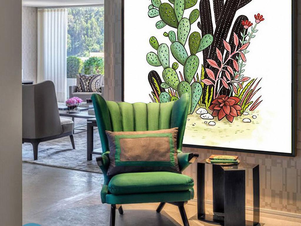 仙人掌沙漠植物手绘水彩北欧小清新装饰画