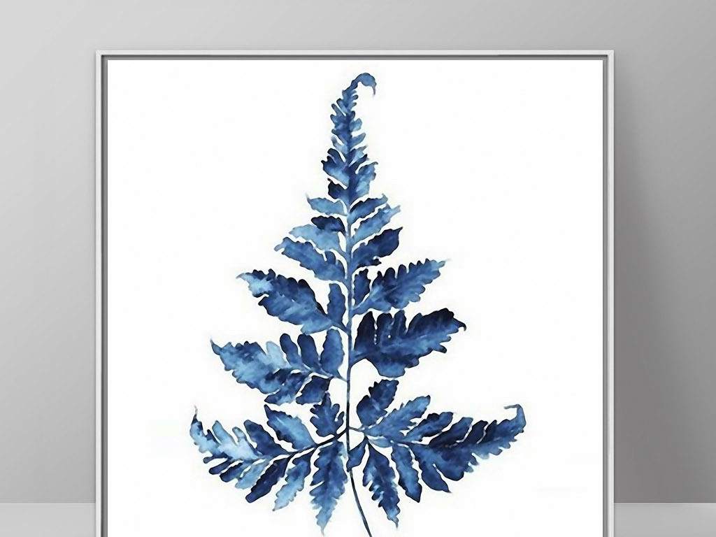 深蓝色蕨菜北欧小清新手绘欧式家居装饰画