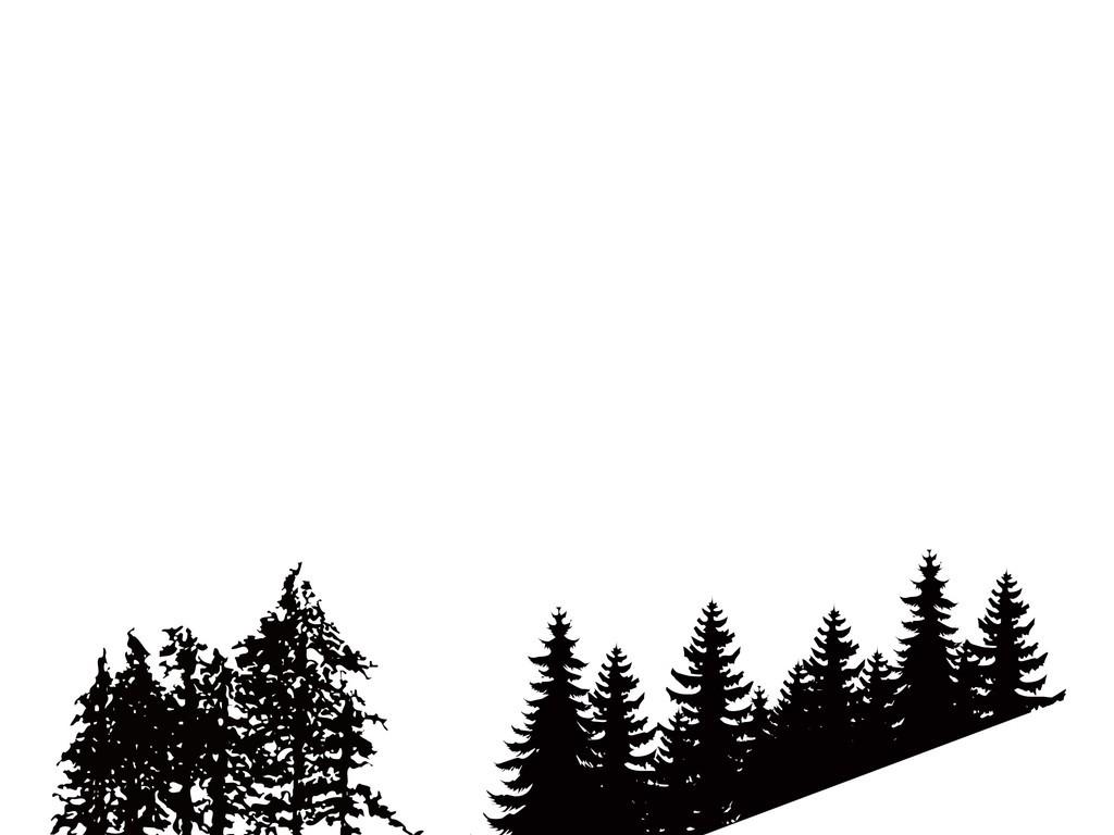 山脉素材手绘山脉风景树木