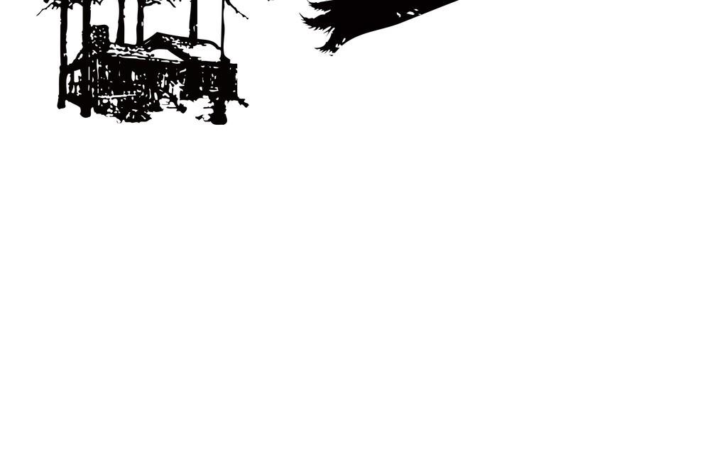 北欧风无框画素材抽象几何风景素材手绘素材树木山脉风景素材手绘风景