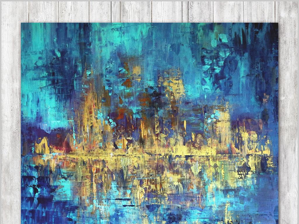 现代简约抽象油画赵无极玄关壁画背景墙(图片编号:)图片