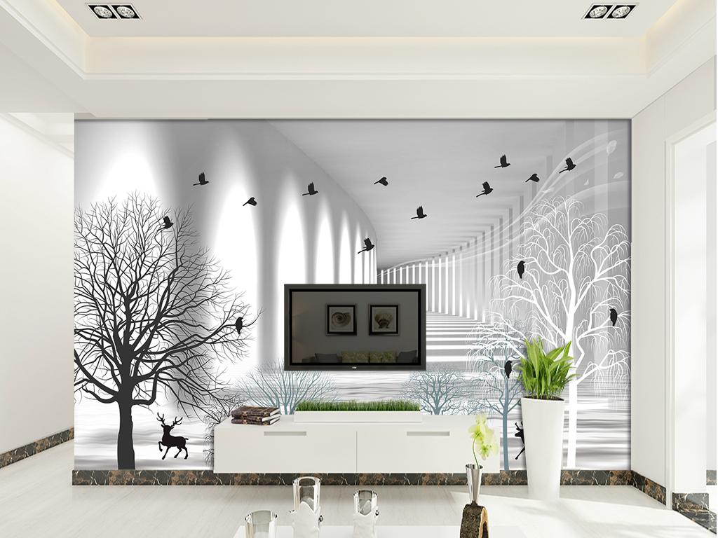 黑白素描简约北欧抽象树飞鸟电视背景墙图片