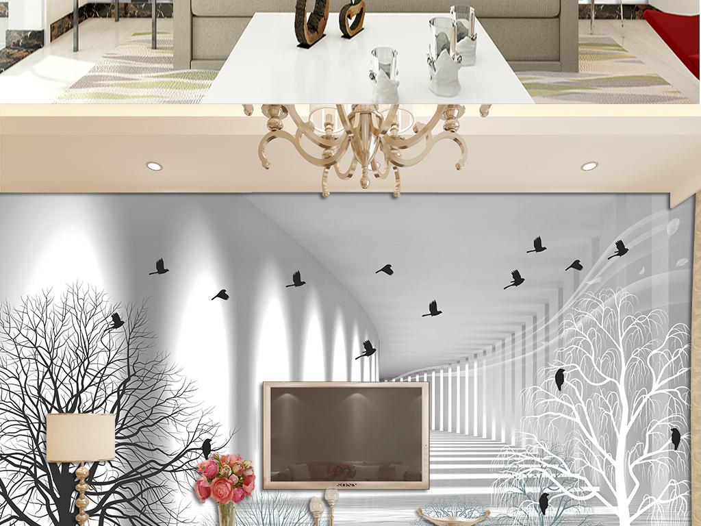 黑白素描简约北欧抽象树飞鸟电视背景墙