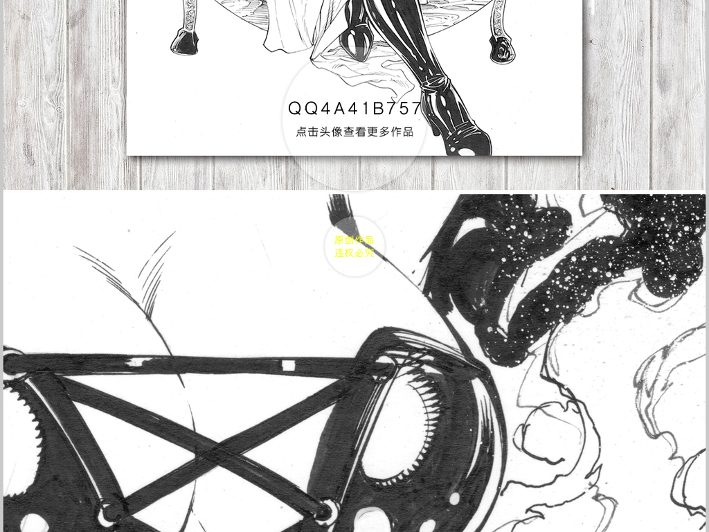 高清手绘复古典欧式摩登女郎裸体裸女插画