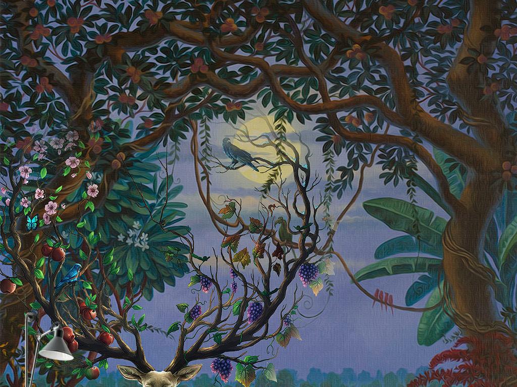 欧式手绘森林果树麋鹿背景墙壁画