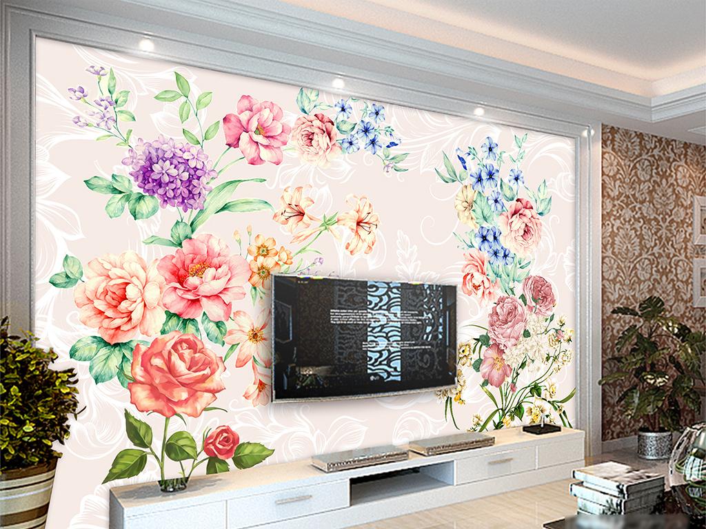 背景墙|装饰画 电视背景墙 手绘电视背景墙 > 美式手绘玫瑰花卉花藤