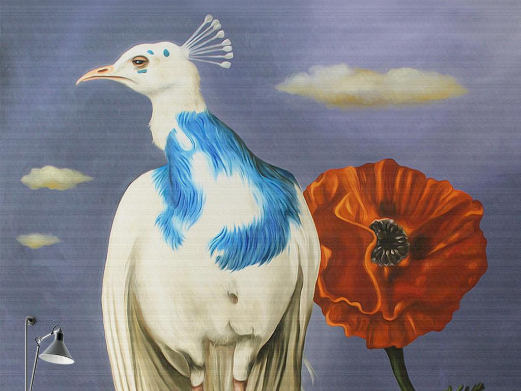 白孔雀手绘欧式孔雀背景怀旧手绘墙壁手绘虞美人手绘墙壁孔雀羽毛孔雀