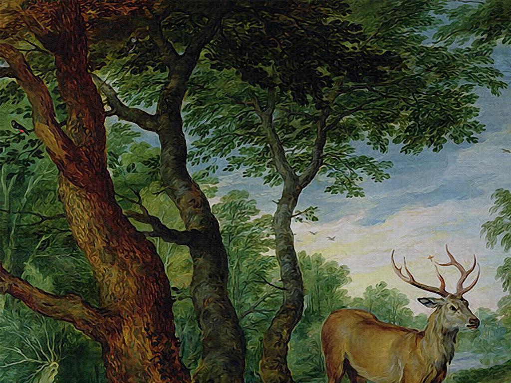 手绘森林森林公主森林风景卡通森林森林防火原始森林