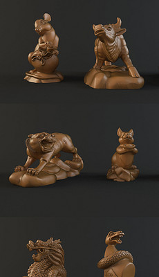 3D模型雕塑摆件动物12生肖