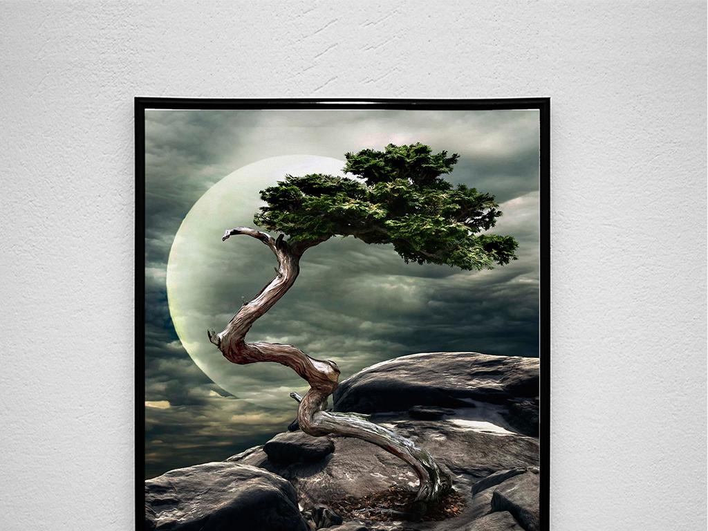 新中式风景油画装饰画图片