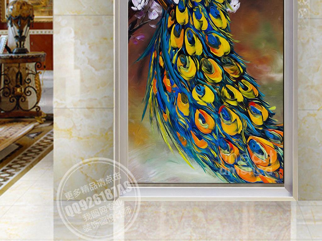墙纸装饰油画复古抽象画水彩手绘动物画孔雀凤凰玄关油画欧式背景彩色图片