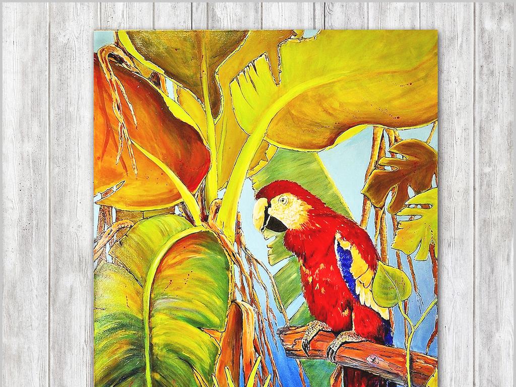 北欧现代简约手绘植物动物花鸟画装饰画