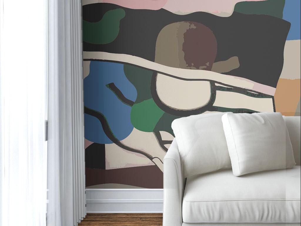 现代简约个性手绘涂鸦墙纸