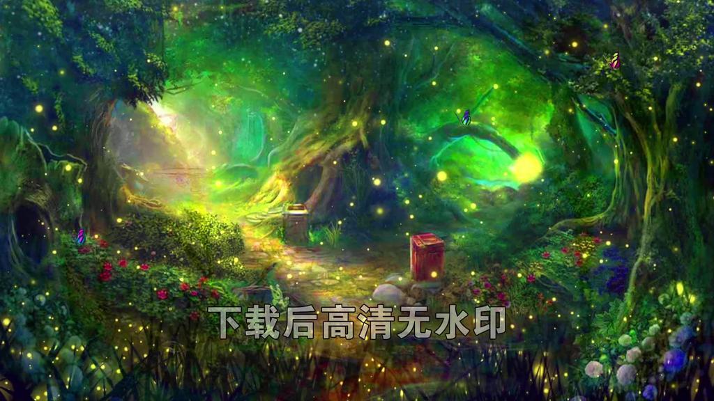 唯美梦幻仙境森林萤火虫蝴蝶童话背景视频