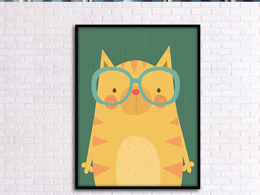 戴眼镜棕熊可爱拟人北欧手绘现代欧式装饰画