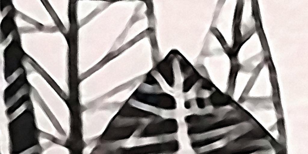 树林中房子黑白手绘欧式现代艺术家居装饰画